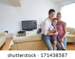 happy young family with kids in ... | Shutterstock . vector #171438587