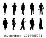 people silhouette walking on... | Shutterstock .eps vector #1714405771