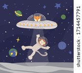 funny alien fox in ufo with ray ... | Shutterstock .eps vector #1714457791