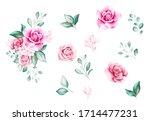 set of watercolor flowers... | Shutterstock . vector #1714477231