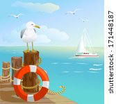 Sea  Gull  Pier  And Lifebuoy....