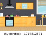 kitchen room interior with... | Shutterstock .eps vector #1714512571