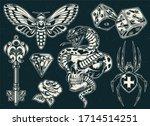 vintage monochrome tattoos... | Shutterstock . vector #1714514251