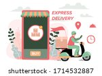 delivery website banner in flat ... | Shutterstock .eps vector #1714532887