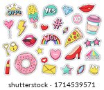 fashion patches. comic doodle... | Shutterstock . vector #1714539571