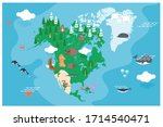 the world map with cartoon... | Shutterstock .eps vector #1714540471
