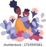 african american woman hugs... | Shutterstock .eps vector #1714545361