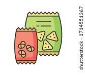 snacks rgb color icon. potato... | Shutterstock .eps vector #1714551367