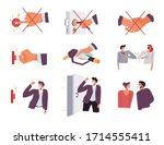 covid19 prevention precautions  ... | Shutterstock .eps vector #1714555411