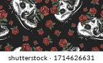 skull and red roses flowers.... | Shutterstock .eps vector #1714626631