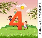 flashcard for kindergarten and... | Shutterstock .eps vector #1714632844