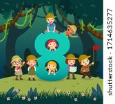 flashcard for kindergarten and... | Shutterstock .eps vector #1714635277