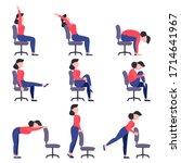 set of girls doing exercises on ...   Shutterstock .eps vector #1714641967