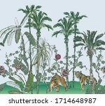 oriental tropical trees... | Shutterstock .eps vector #1714648987