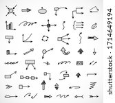 vector set of hand drawn arrows ... | Shutterstock .eps vector #1714649194