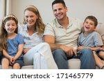 portrait of happy parents and... | Shutterstock . vector #171465779