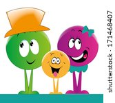 a happy family of round persons ... | Shutterstock .eps vector #171468407