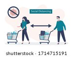 social distancing in... | Shutterstock .eps vector #1714715191