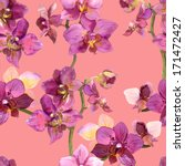 colorful pattern with orchide... | Shutterstock . vector #171472427