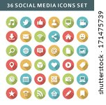 Web site vector icons set shadow effect. Social media design elements for design.