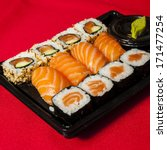 sushi mix in a plastic tray   Shutterstock . vector #171477254
