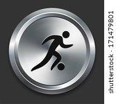 Soccer Icon On Metallic Button...