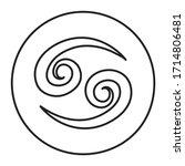 cancer black line icon. zodiac...