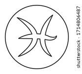 pisces black line icon. zodiac...