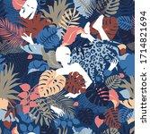 tropical seamless pattern ... | Shutterstock .eps vector #1714821694