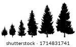 black tree silhouette on a... | Shutterstock .eps vector #1714831741
