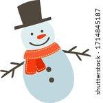 Snow Man Vector  Winter  White...