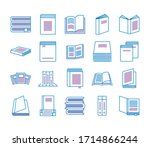 bundle of text books line style ... | Shutterstock .eps vector #1714866244