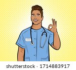 doctor in pop art style.... | Shutterstock . vector #1714883917