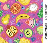 seamless pattern with tropical... | Shutterstock .eps vector #1714896304