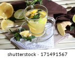 cup of tea with ginger on... | Shutterstock . vector #171491567
