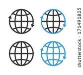 earth globe emblem set. raster... | Shutterstock . vector #171491825