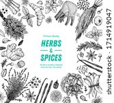 herbs and spices hand drawn... | Shutterstock .eps vector #1714919047