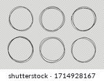 set of hand drawn circle line... | Shutterstock .eps vector #1714928167