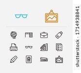 workplace icons set. printer...