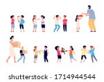 bad behavior. bad boy girl.... | Shutterstock .eps vector #1714944544
