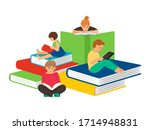 kids reading. stay home ... | Shutterstock .eps vector #1714948831