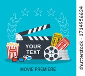 clapboard  popcorn and tickets. ... | Shutterstock .eps vector #1714956634