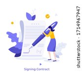 woman leaving signature on... | Shutterstock .eps vector #1714967947