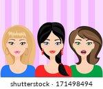 astonished pretty girls  three... | Shutterstock .eps vector #171498494