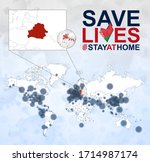 world map with cases of... | Shutterstock .eps vector #1714987174