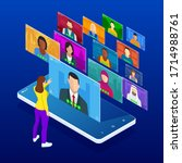 isometric video conference.... | Shutterstock . vector #1714988761