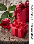 Red Gift Boxes And Rose On...