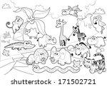 savannah animal family with... | Shutterstock .eps vector #171502721