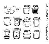 mason jars hand drawn classic...   Shutterstock .eps vector #1715048104