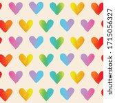 rainbow hearts. vector seamless ... | Shutterstock .eps vector #1715056327